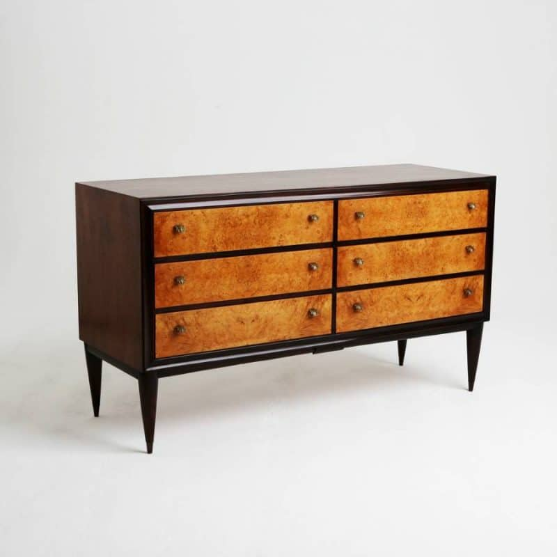1950s Italian Rosewood Burr Walnut Chest of Drawers