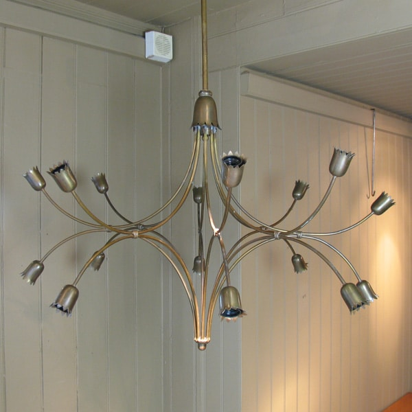 1960s brass chandelier