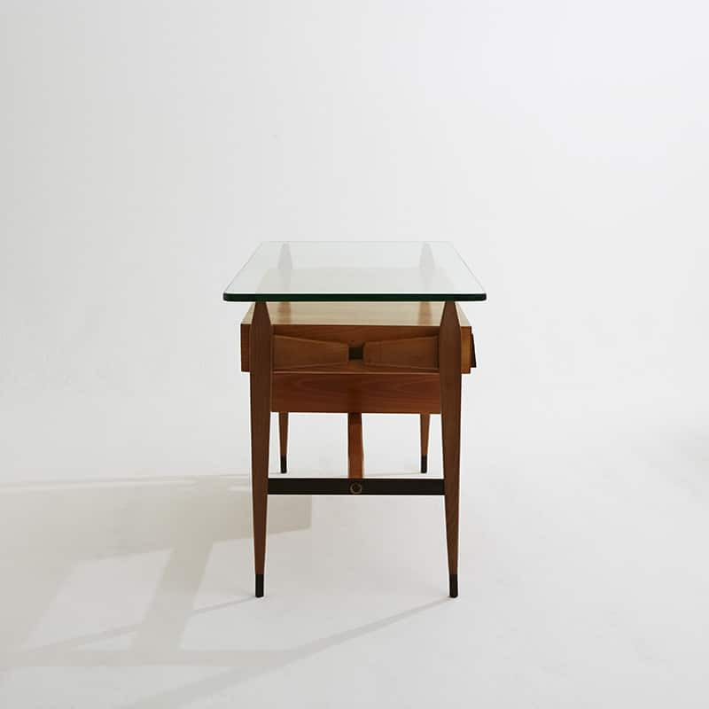 1960s Italian fruitwood desk with bronze detail