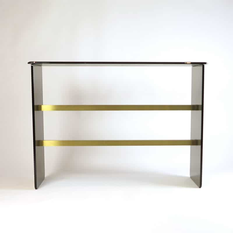 1970s glass and brass Italian console table