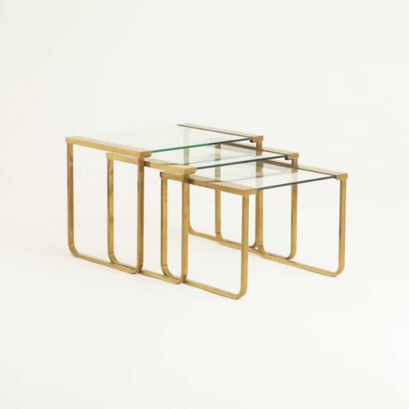 Nest of three 1960s Italian Brass and Glass Tables