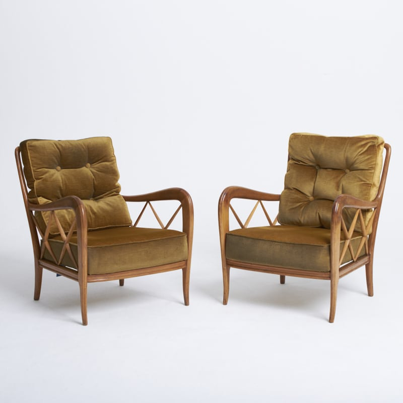 Pair 1950s Italian Chairs attributed to Paulo Buffa