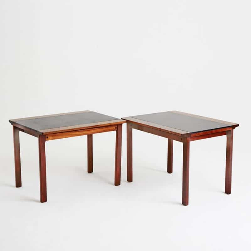 Pair 1970s French rosewood tables