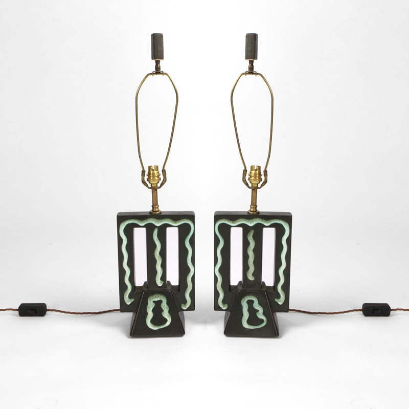 Pair of 1950s French ceramic lamps