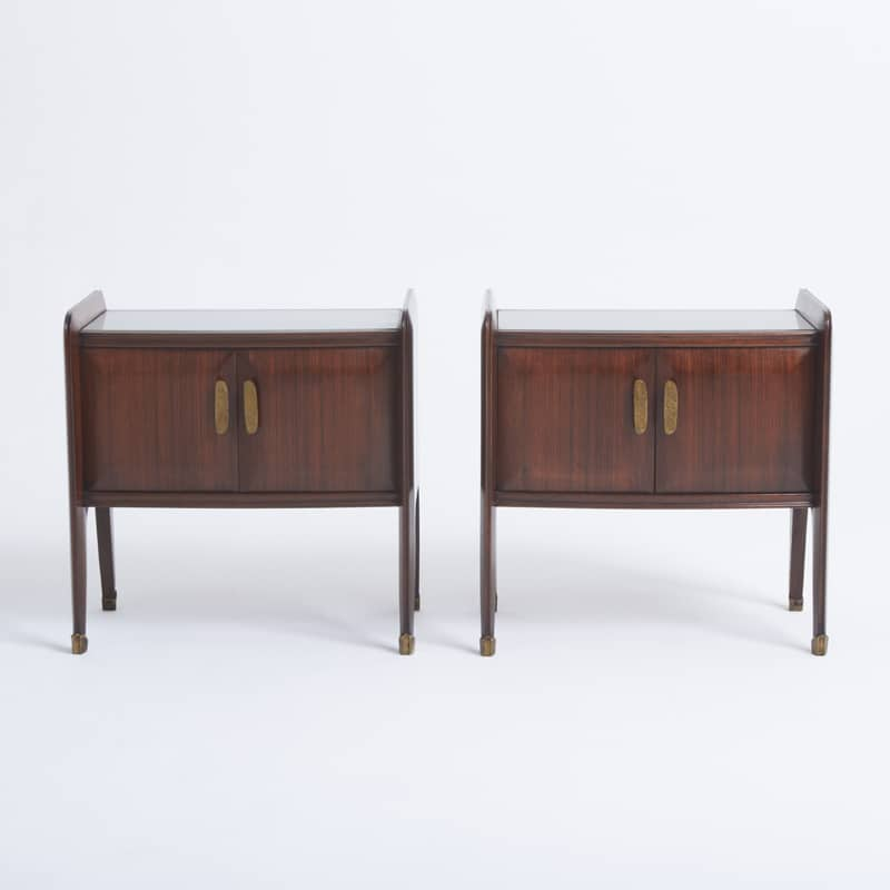 Pair of 1950s Italian Rosewood Bedside Cabinets