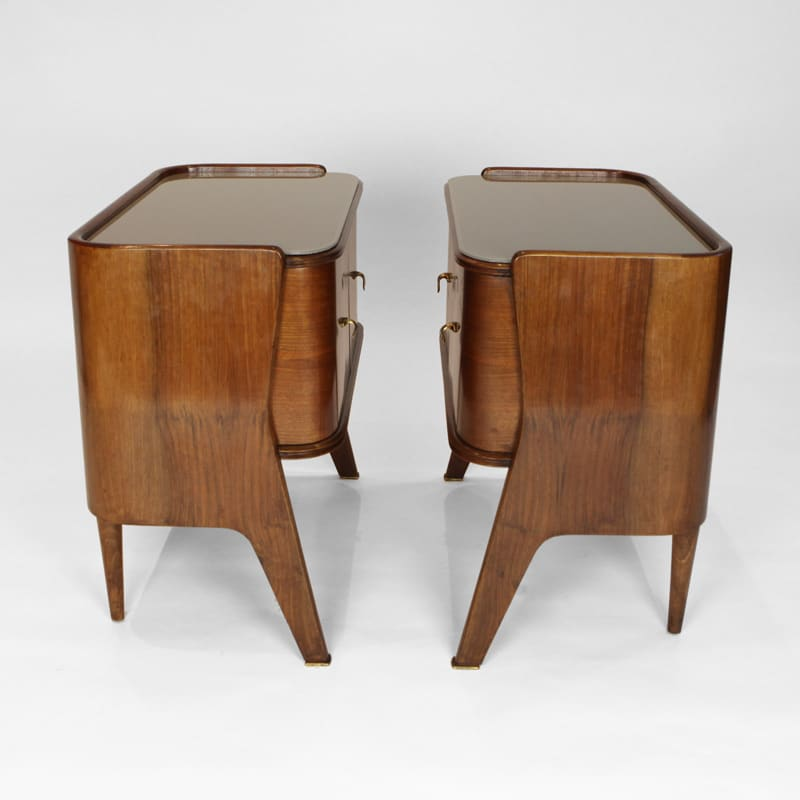 Pair of 1950s Italian walnut bedside tables