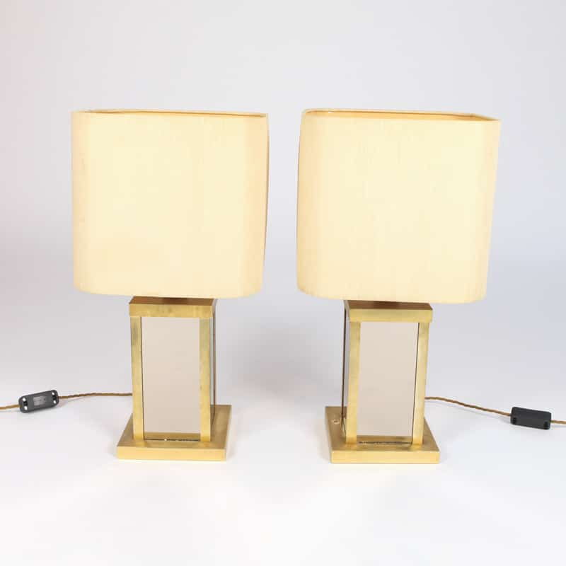 Pair of 1950s mirrored lamps