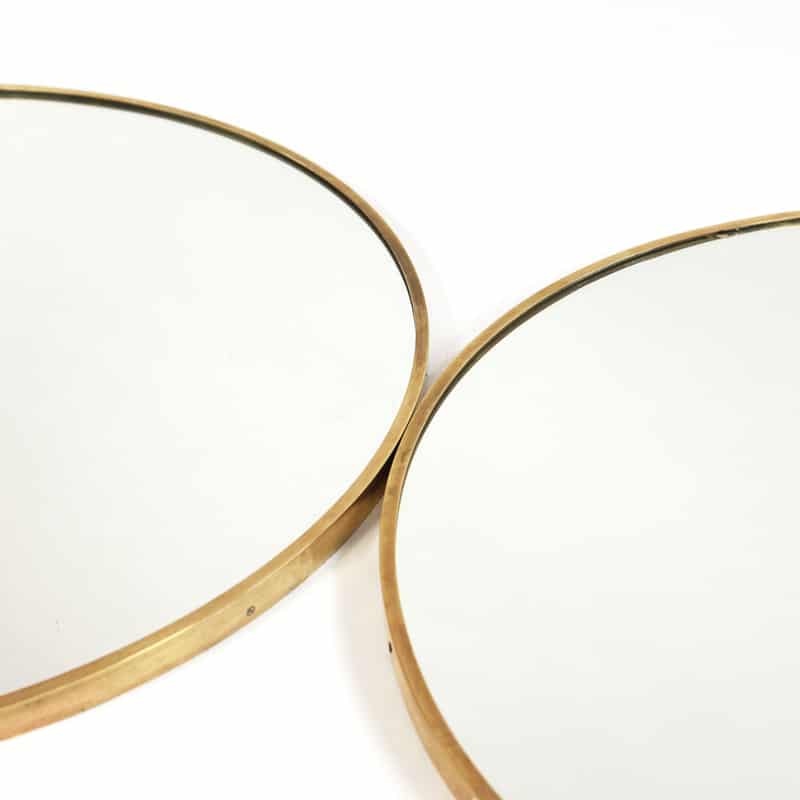 Pair of 1960s Italian brass framed mirrors
