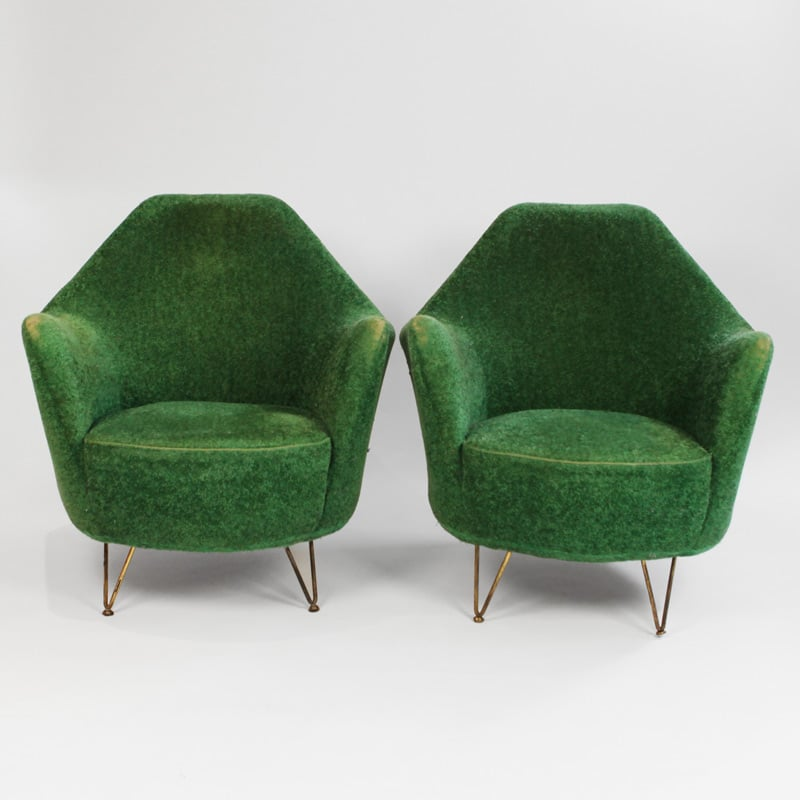 Pair of 1960s Italian chairs in original fabric