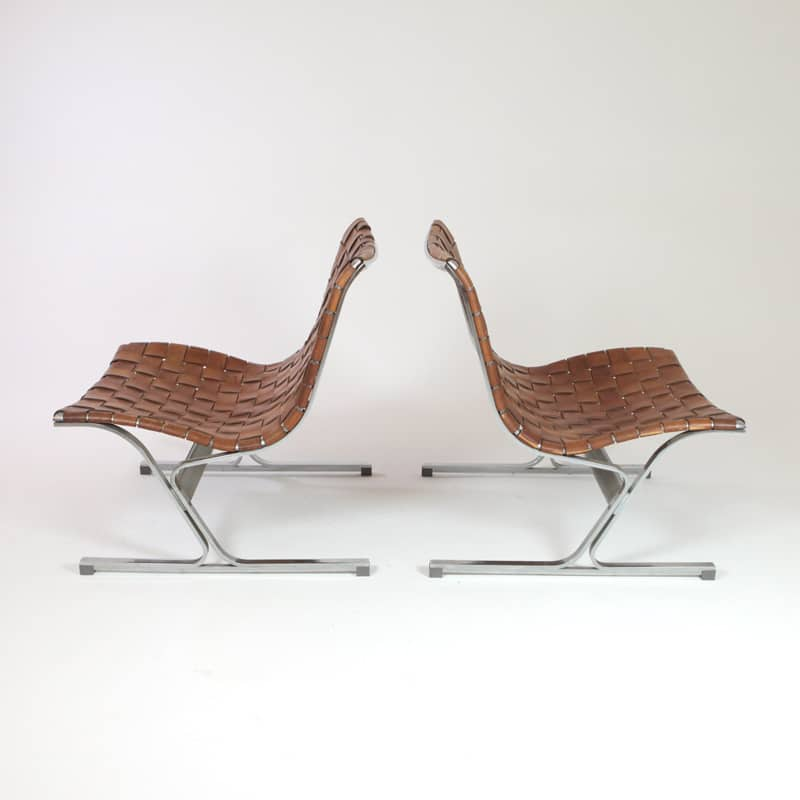 Pair of Luar 1965 chrome and leather chairs designed by Ross Littell for ICF Made in Italy