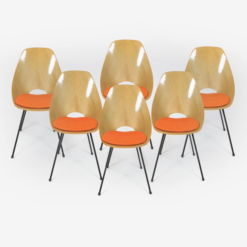 Set of six 1955 oak Medea chairs designed by Vittorio Nobili for Fratelli Tagliabue