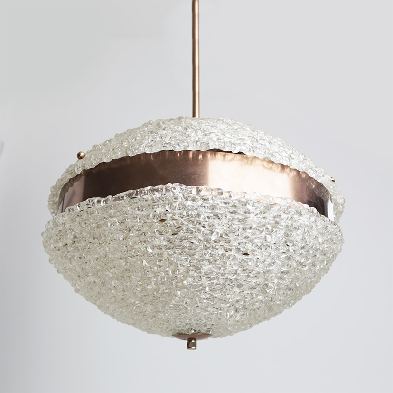 1960s copper and resin Italian ceiling light