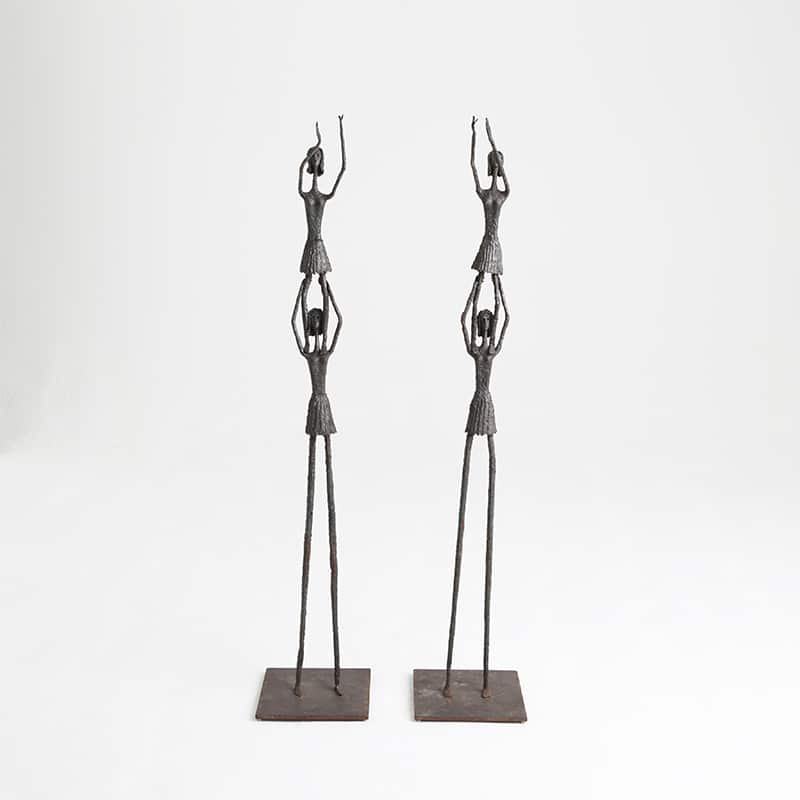 Pair of steel 1950s Italian sculptures
