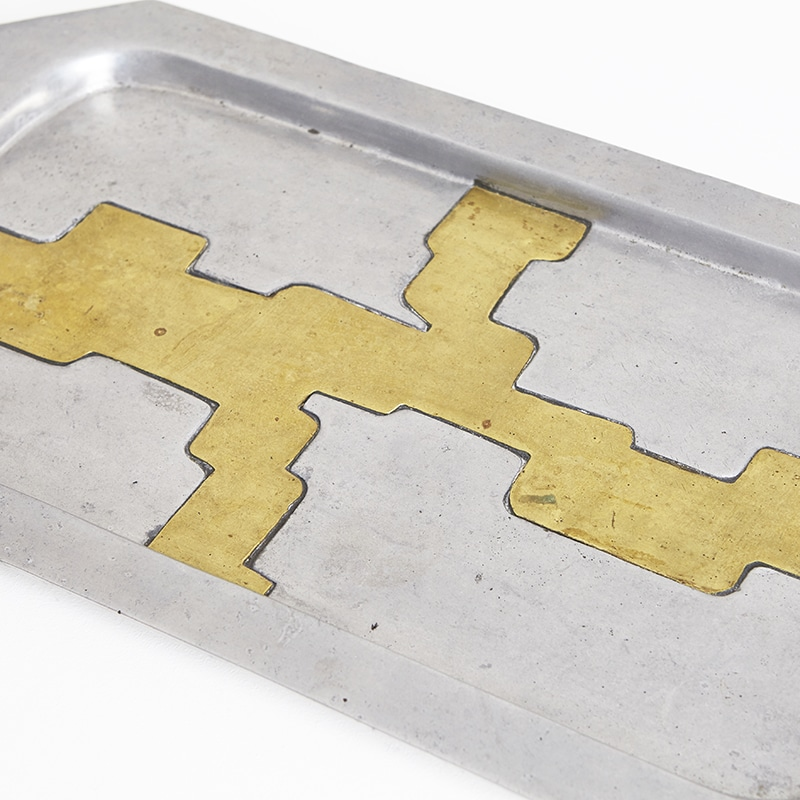 1960s brass and steel Italian tray
