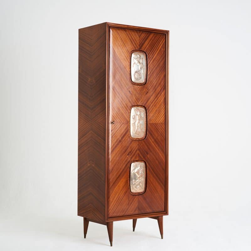 1950s Italian rosewood cabinet with embossed metal decorative panels by Cotter