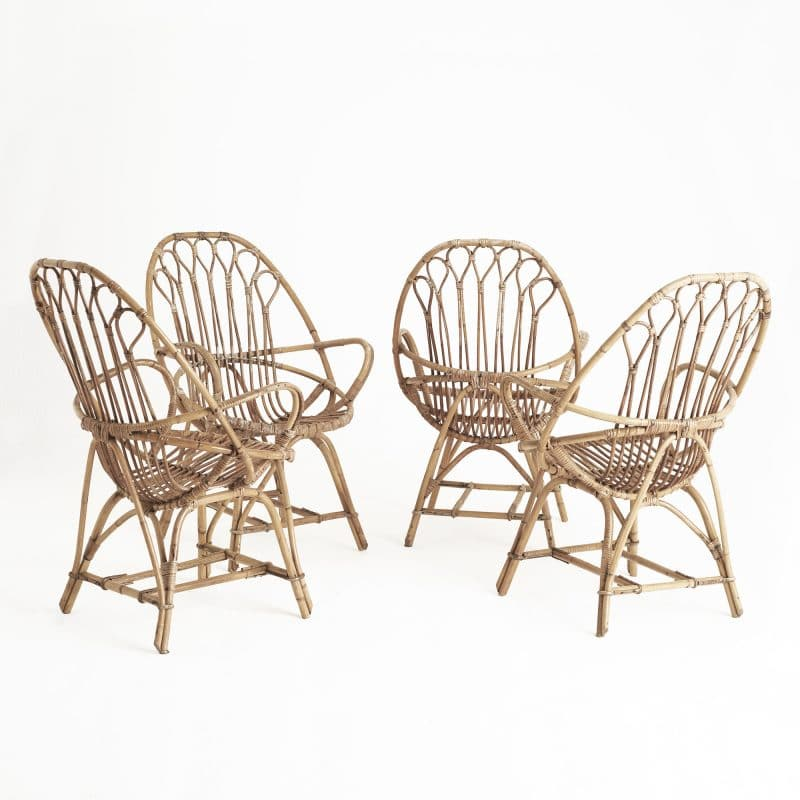 Four 1960s Italian rattan chairs