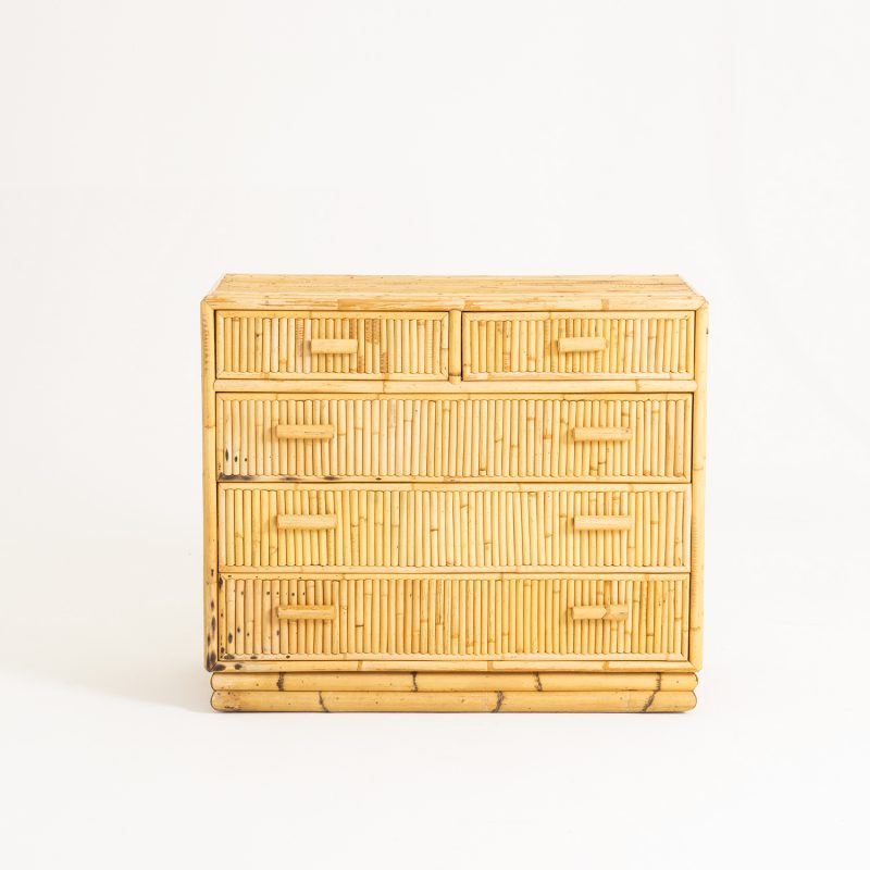 1950s French bamboo chest of drawers