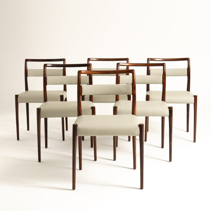 Set of six 1960s Italian dinner chairs upholstered in Ben Whistler leather