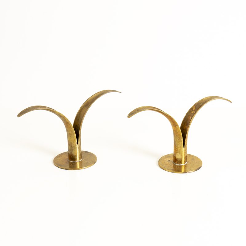 Pair 1960s Swedish Ivor Alenius Bjork candlestick holders for Ystad
