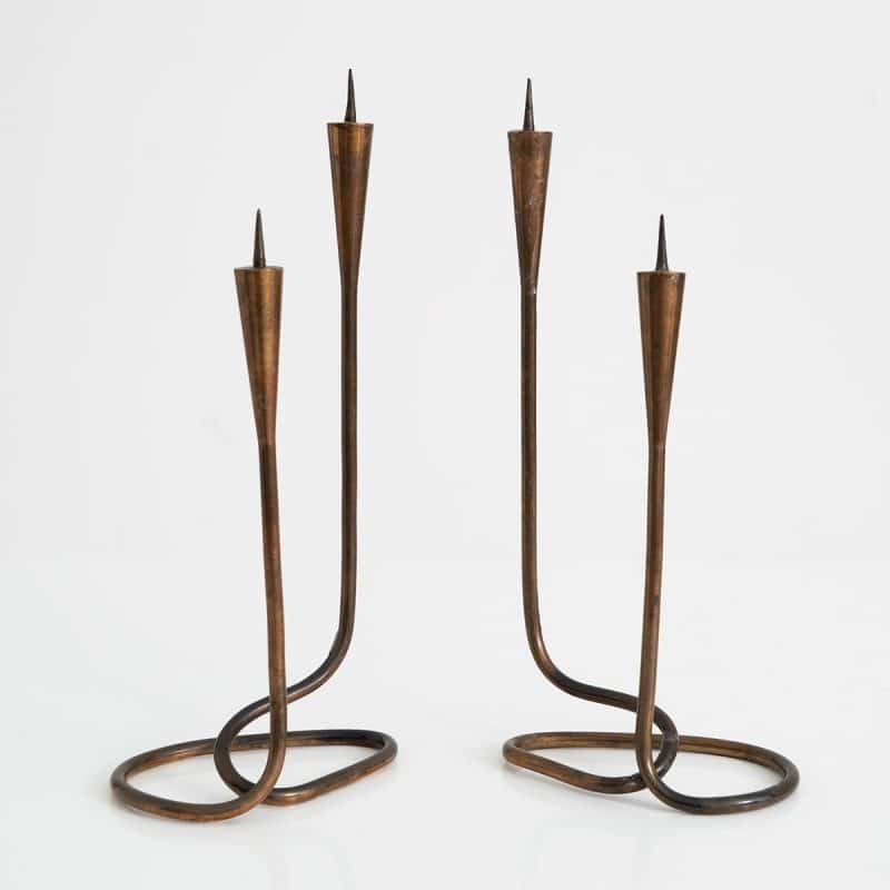 Pair of French brass candlesticks