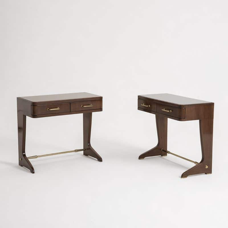 1950s pair Italian rose wood bedside tables