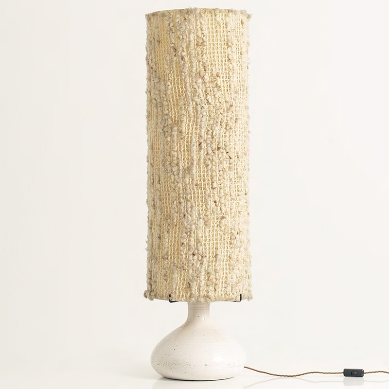 1960s French ceramic, wood and resin lamp by Accolay
