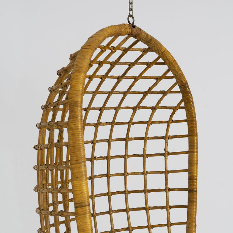 1970s Italian rattan hanging chair