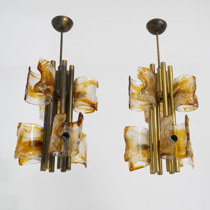 Pair of 1970's Chandeliers by Mazzega