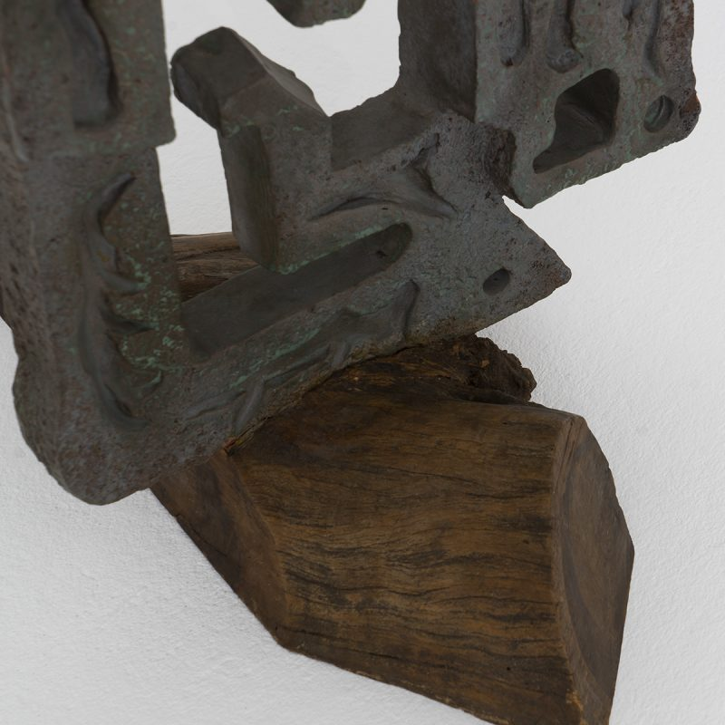 1970s Italian metal and wood sculpture
