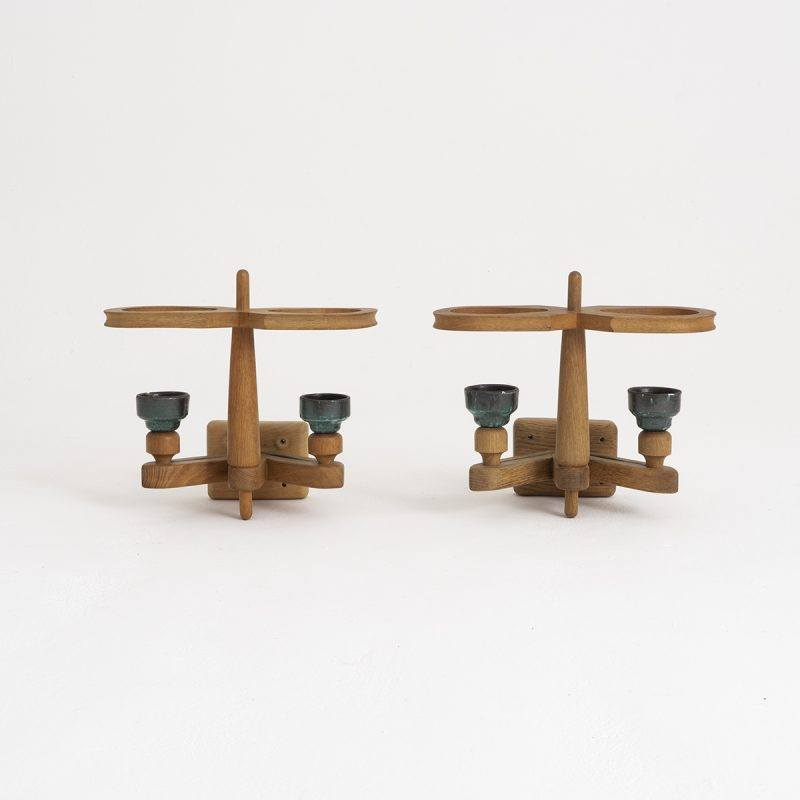 Pair 1940s Oak and Ceramic wall lights