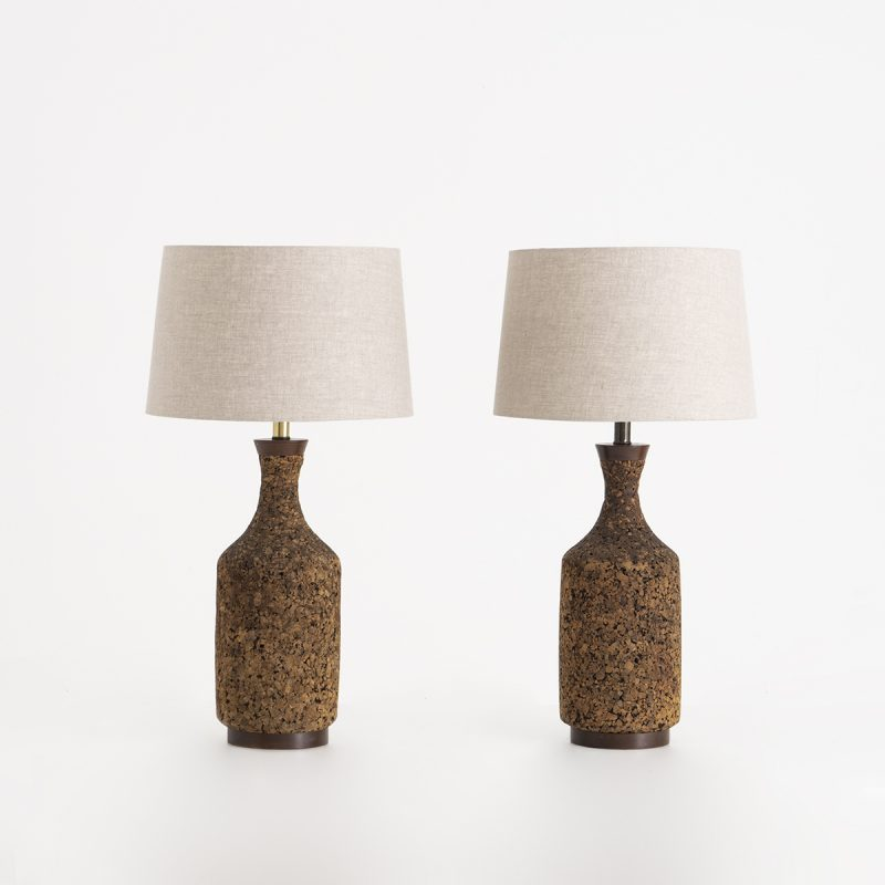 1960s US cork and teak lamps