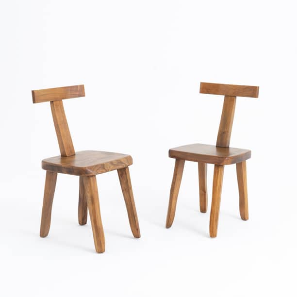 Pair of 1950s Brutalist Model T chairs attrib Olavi Hanninen